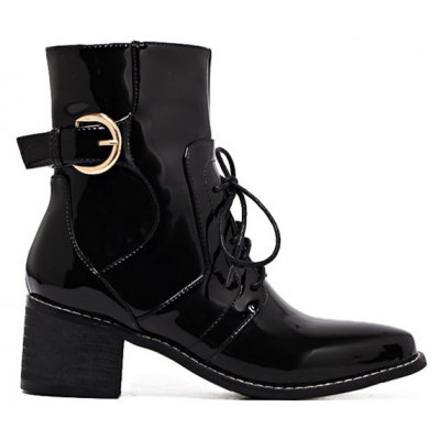 Patent Leather Chunky Heel Combat Boots