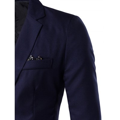 One-Button Lapel Edging Design BlazerMens Blazers<br>One-Button Lapel Edging Design Blazer<br><br>Clothing Length: Regular<br>Material: Cotton, Polyester<br>Package Contents: 1 x Blazer<br>Sleeve Length: Long Sleeves<br>Weight: 0.440kg