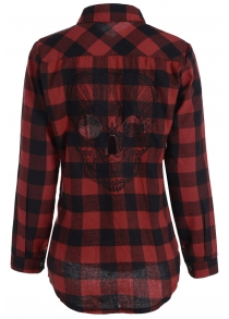 Plus Size Halloween Back Skull Pattern Plaid Shirt
