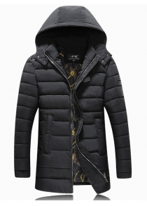 PU Patch Padded Coat with Detachable Hood