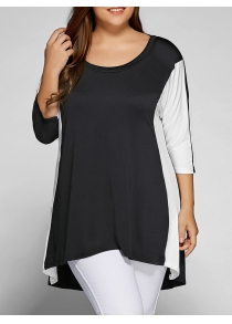 Plus Size Color Block Longline Top