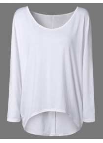 High Low Plus Size Plain T-Shirt