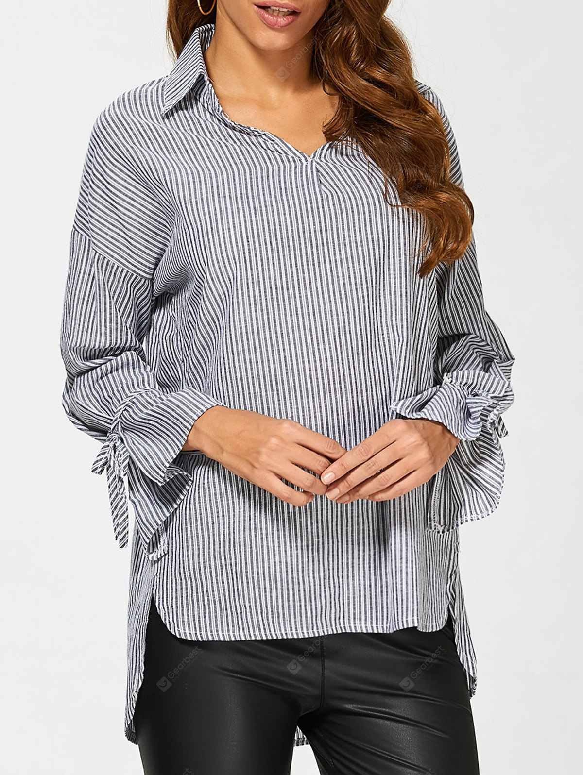 Pinstriped High Low Blouse M BLACK