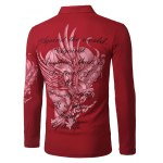 cheap Stylish Turn-down Collar Animal Eagle Print Hit Color Long Sleeves Polo T-Shirt For Men