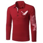 Stylish Turn-down Collar Animal Eagle Print Hit Color Long Sleeves Polo T-Shirt For Men