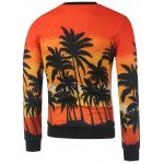 cheap Crew Neck Coconut Palm Printed Sweatshirt