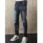 cheap Slim Fit Zipper Fly Distressed Jeans