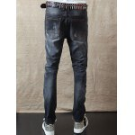 Slim Fit Zipper Fly Distressed Jeans for sale