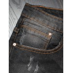 Slim Fit Zipper Fly Distressed Jeans photo