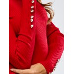 Buttoned Long Sleeve Pencil Knitting Dress for sale