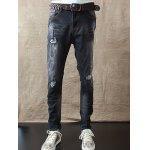Buy Slim Fit Zipper Fly Distressed Jeans 28