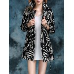 cheap Geometric Double Breasted Trench Coat