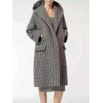 Hooded Houndstooth Cocoon Coat