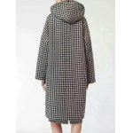 cheap Hooded Houndstooth Cocoon Coat