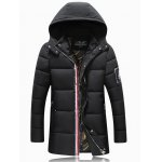 Patch Design Striped Zip Up Hooded Quilted Coat