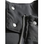 best Patch Design Striped Zip Up Hooded Quilted Coat