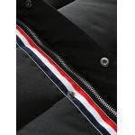 Patch Design Striped Zip Up Hooded Quilted Coat deal