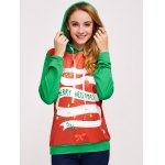 cheap Christmas Print Color Spliced Hoodie