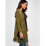 cheap Fringed Slit Fittng Cardigan