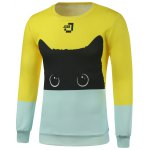Crew Neck Color Block Cat Printed Sweatshirt