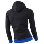 cheap Inclined Zipper Classic Color Lump Splicing Rib Hem Slimming Hooded Long Sleeves Men's Hoodie