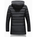 cheap PU Patch Padded Coat with Detachable Hood