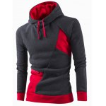 Inclined Zipper Classic Color Lump Splicing Rib Hem Slimming Hooded Long Sleeves Men's Hoodie 11027
