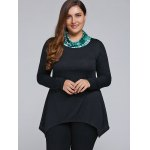 Plus Size Cowl Neck Asymmetrical T-Shirt