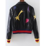 cheap Rivet Star Moon Patched Bomber Jacket
