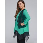 Plus Size Overlay Chiffon Patchwork Asymmetrical Blouse deal