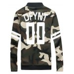 cheap Striped Camo Elastic Cuff Zip Up Jacket