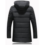 cheap Metal Emblem Zip Up Hooded Quilted Coat