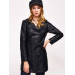 cheap Faux Leather Zip Belted Coat