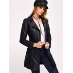 Faux Leather Zip Belted Coat for sale