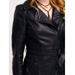 Faux Leather Zip Belted Coat photo