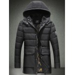 Patch Design Flap Pocket Hooded Padded Coat
