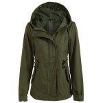 cheap Hooded Drawstring Cargo Jacket