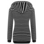 cheap Long Sleeve Button Striped Drawstring Hoodie