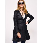 cheap Double-Breasted Faux Leather with Pockets Coat
