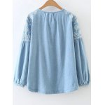 cheap Embroidered Button Up Denim Blouse