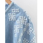 Embroidered Button Up Denim Blouse deal