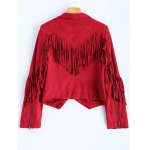 Cropped Tasselled Faux Suede Jacket for sale