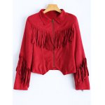 Cropped Tasselled Faux Suede Jacket