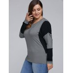 cheap Plus Size Batwing Sleeve Splicing T-Shirt