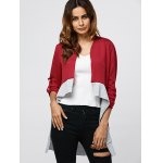 cheap Collarless Color Block Asymmetrical Cardigan