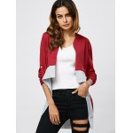 Collarless Color Block Asymmetrical Cardigan deal