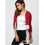 Collarless Color Block Asymmetrical Cardigan for sale