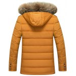 cheap Zippered Detachable Faux Fur Hood Padded Jacket