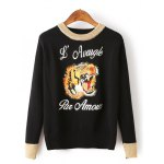 Vintage Tiger Head Letter Graphic Sweater