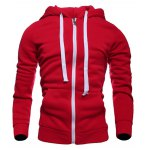 Buy Zip-Up Hooded Drawstring Hoodie 3XL RED